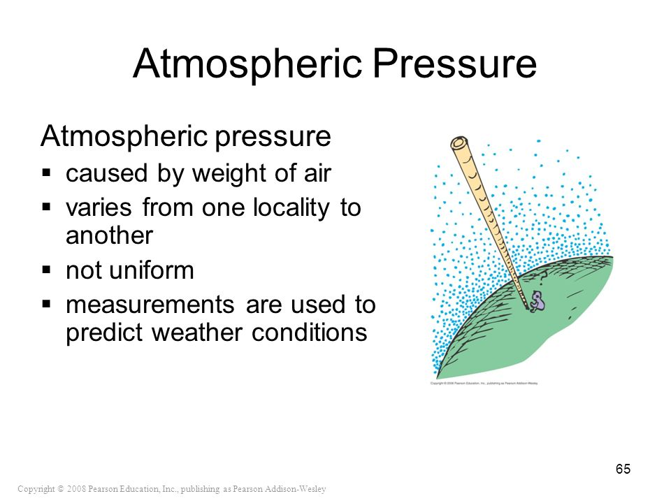 Atmospheric Pressure Atmospheric pressure caused by weight of air