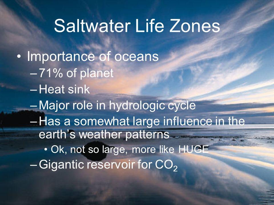 Saltwater Life Zones Importance of oceans 71% of planet Heat sink