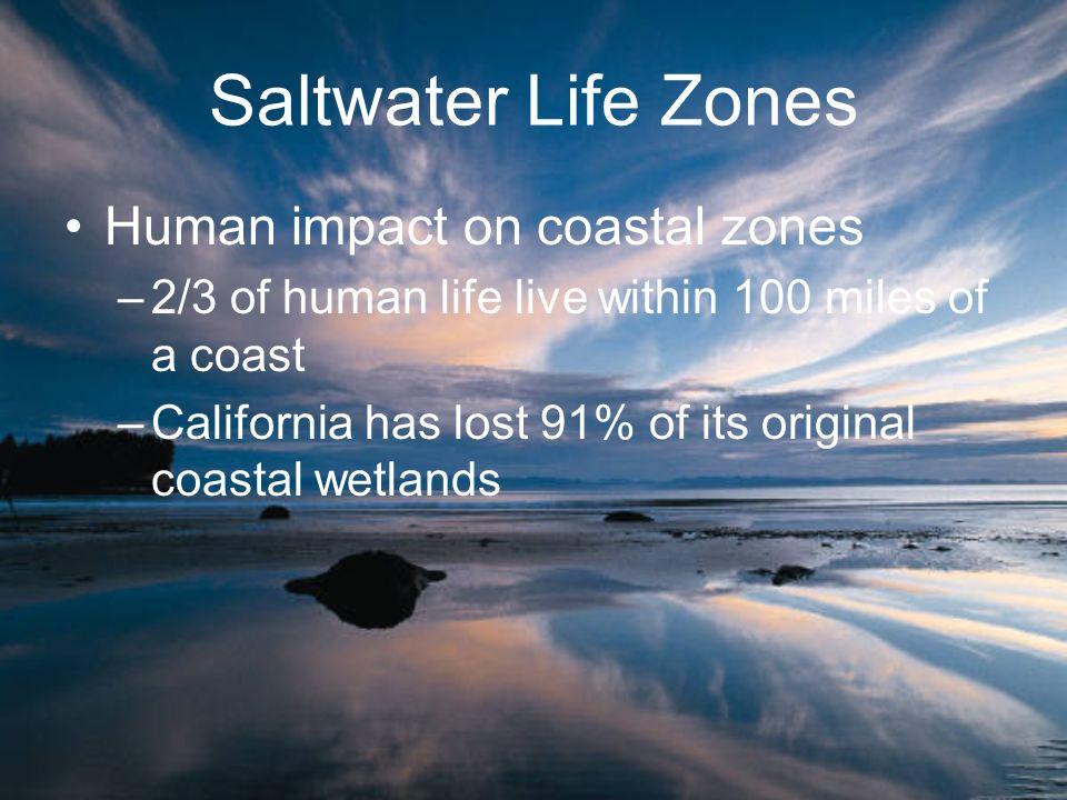 Saltwater Life Zones Human impact on coastal zones