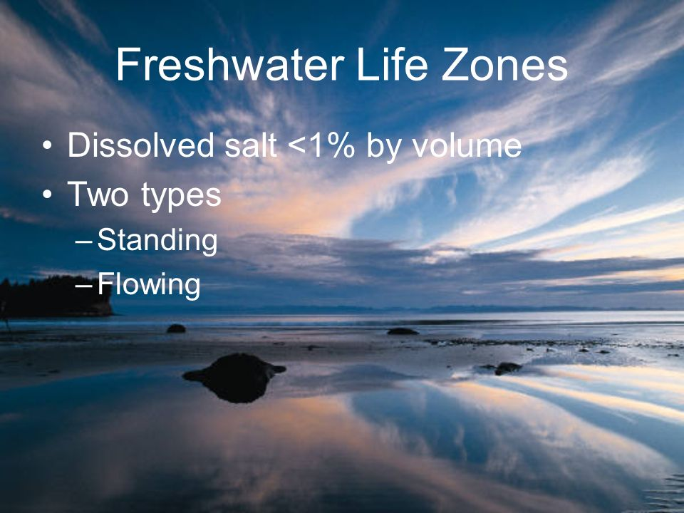 Freshwater Life Zones Dissolved salt <1% by volume Two types