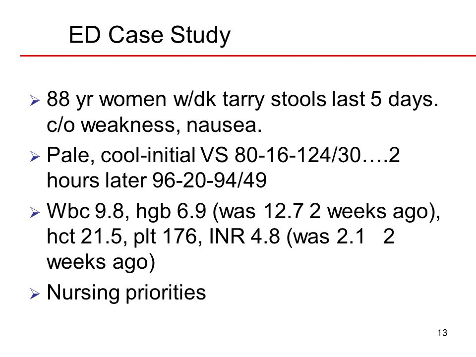 ED Case Study 88 yr women w/dk tarry stools last 5 days. c/o weakness, nausea. Pale, cool-initial VS 80-16-124/30….2 hours later 96-20-94/49.