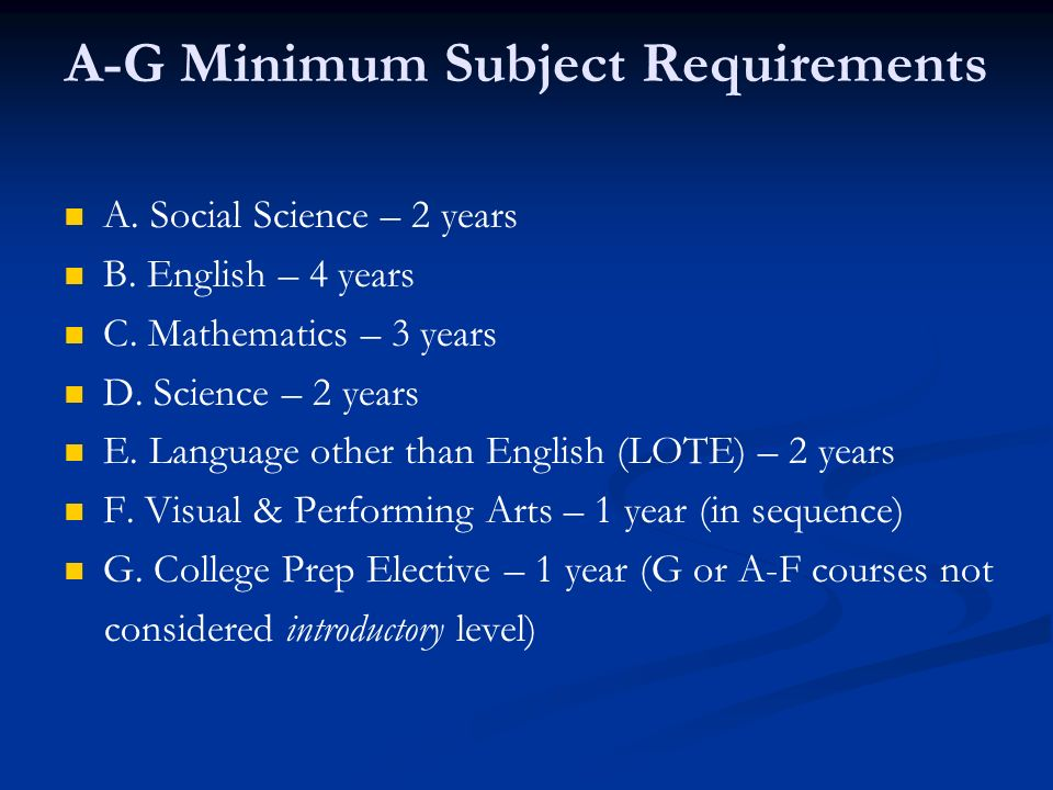 A-G Minimum Subject Requirements