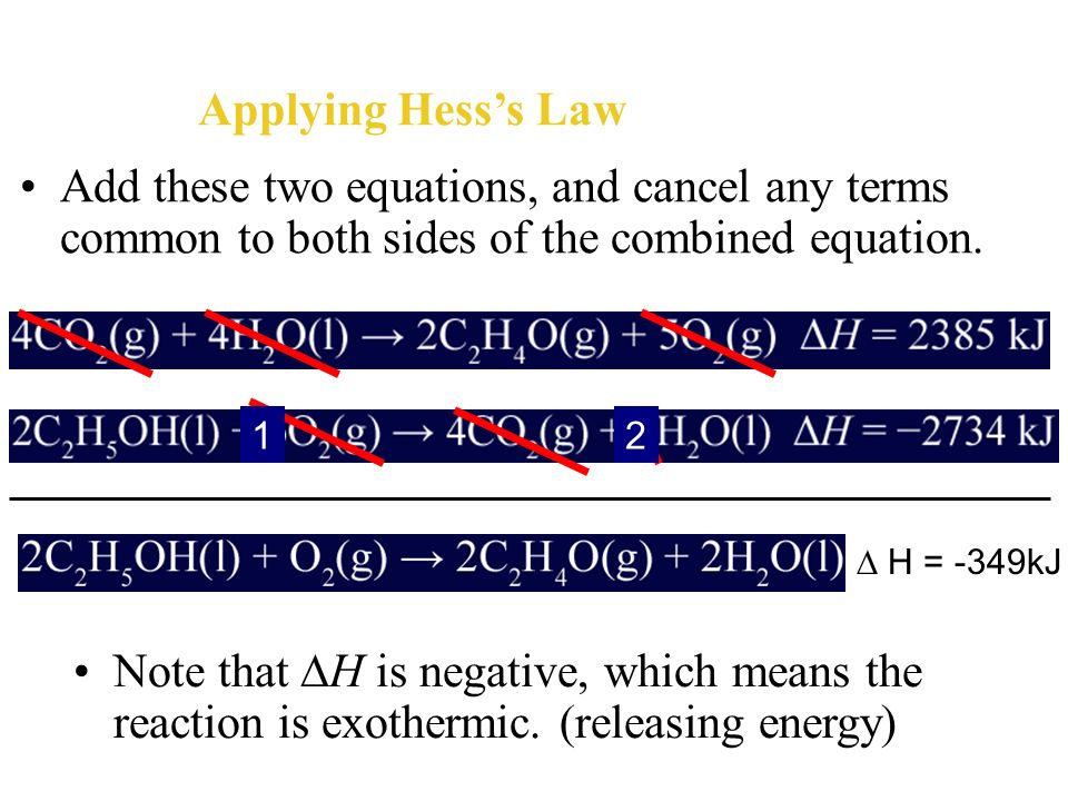 Applying Hess's Law Add these two equations, and cancel any terms common to both sides of the combined equation.