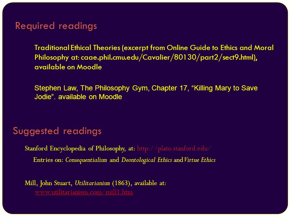 Required readings Suggested readings