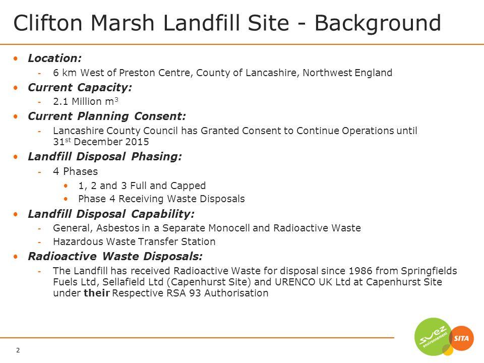 Clifton Marsh Landfill Site - Background
