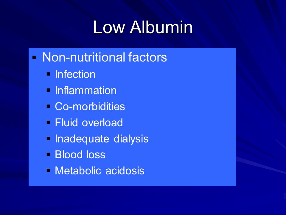 Low Albumin Non-nutritional factors Infection Inflammation