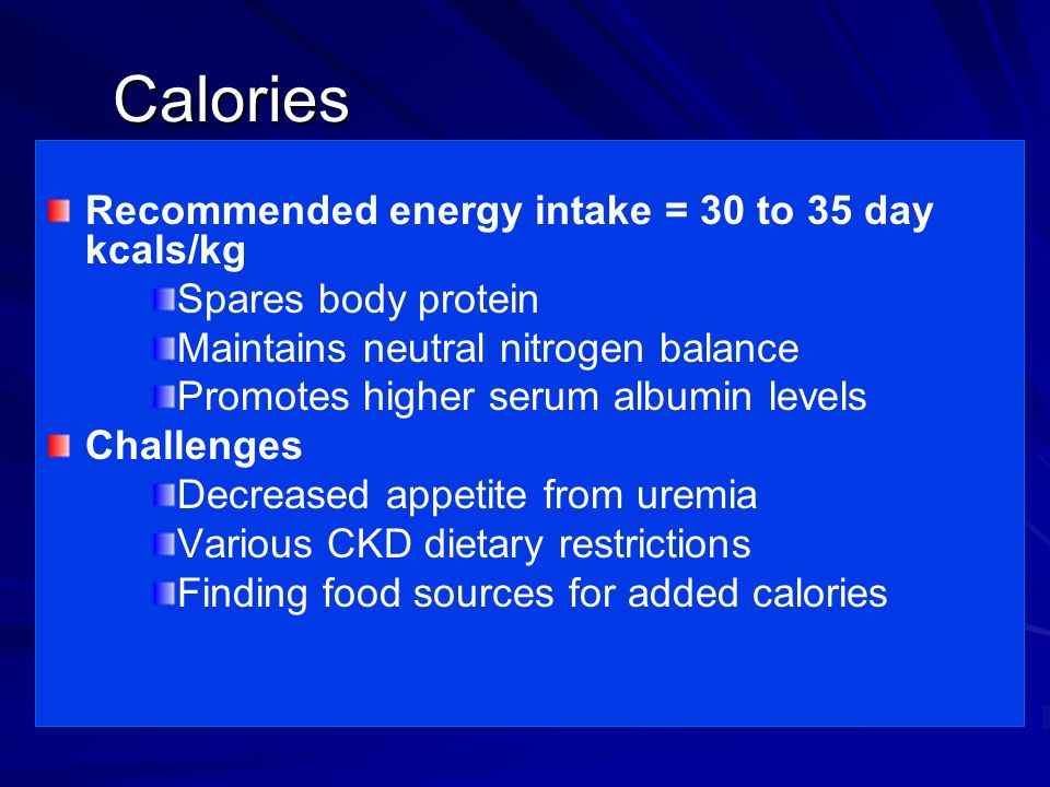 Calories Recommended energy intake = 30 to 35 day kcals/kg