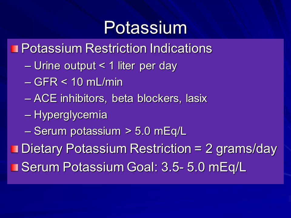 Potassium Potassium Restriction Indications