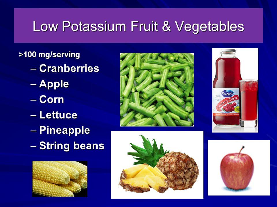 Low Potassium Fruit & Vegetables