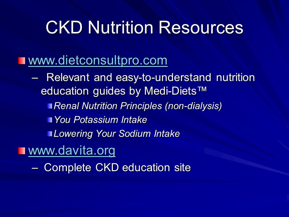 CKD Nutrition Resources