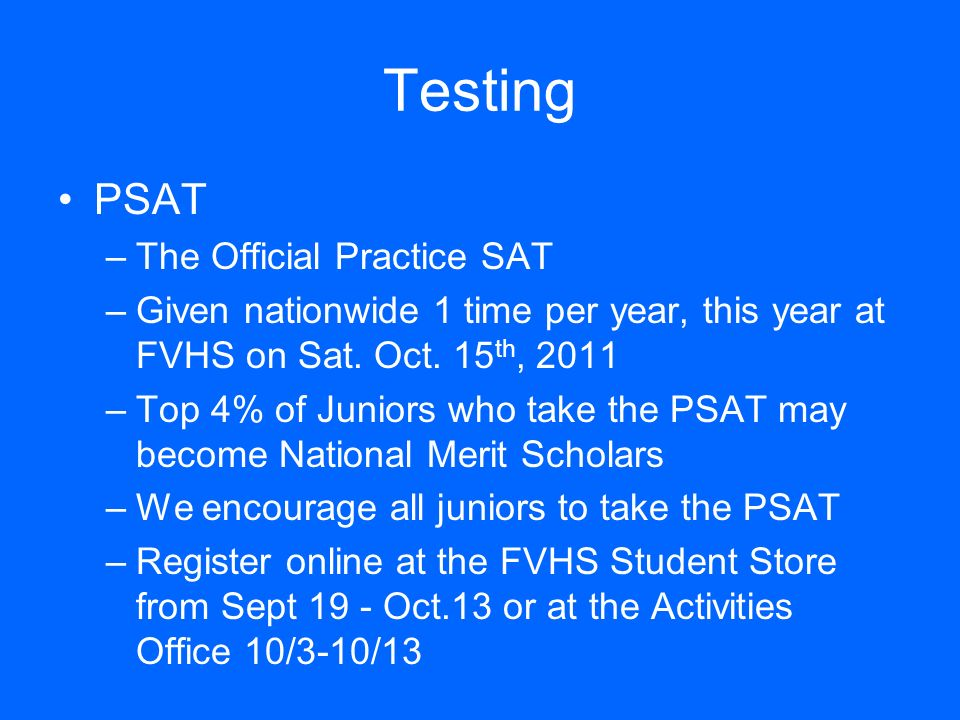 Testing PSAT The Official Practice SAT