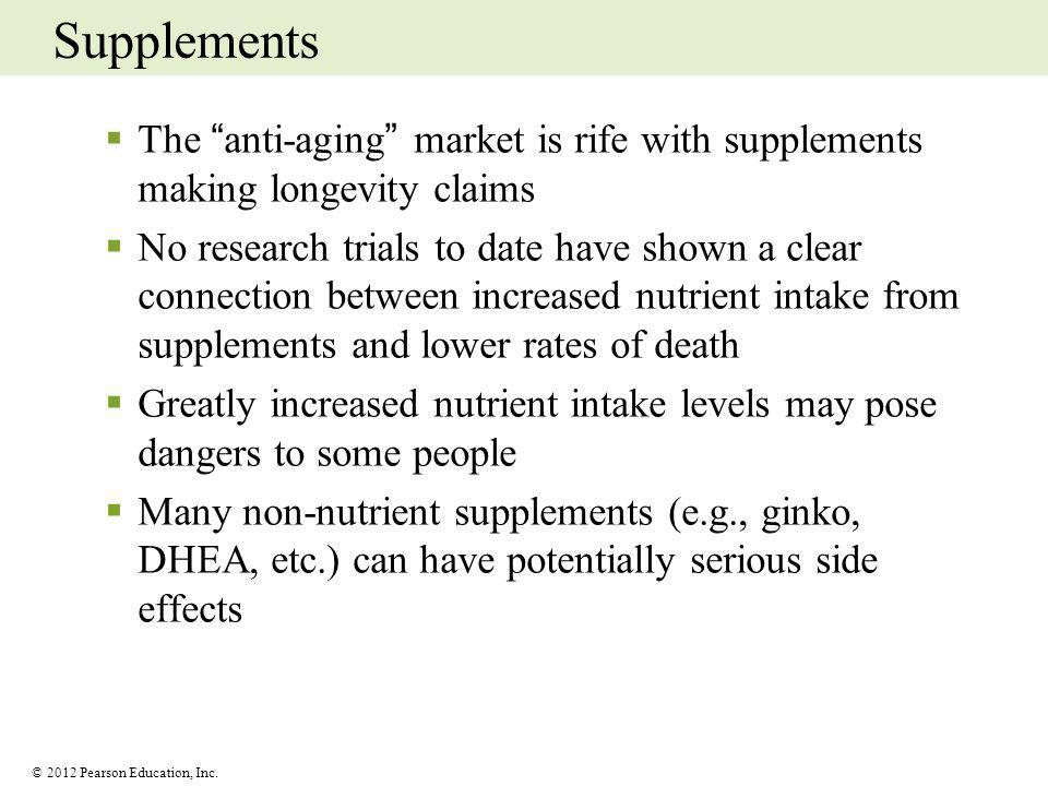 Supplements The anti-aging market is rife with supplements making longevity claims.