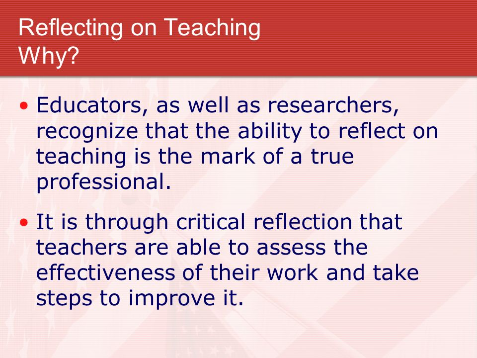 Reflecting on Teaching Why