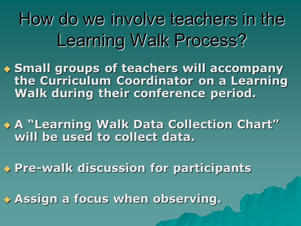 How do we involve teachers in the Learning Walk Process