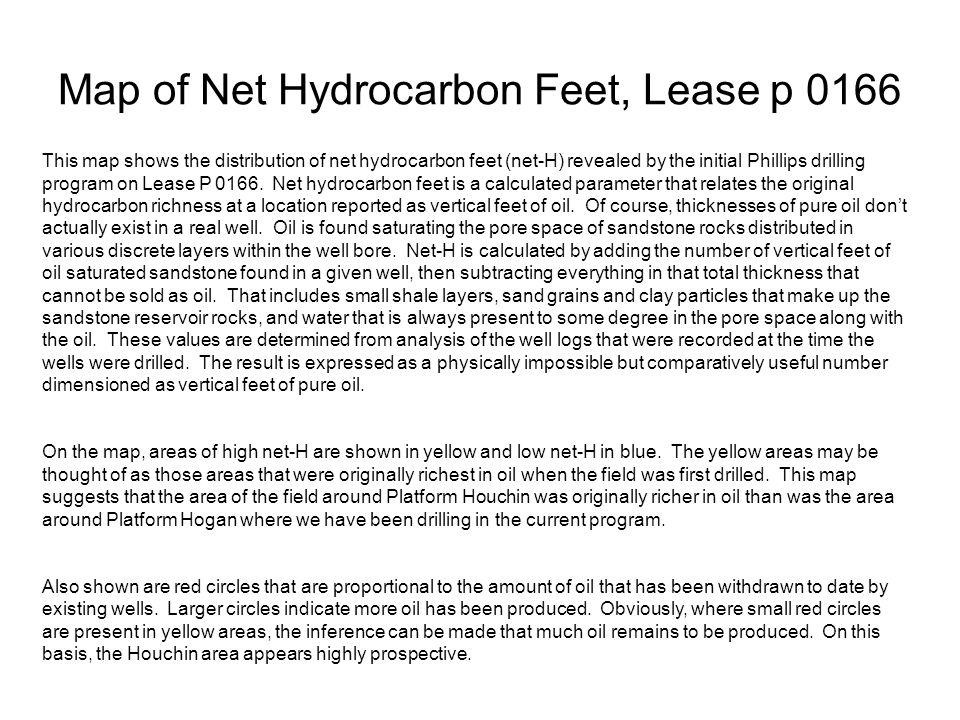 Map of Net Hydrocarbon Feet, Lease p 0166