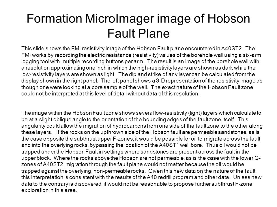 Formation MicroImager image of Hobson Fault Plane