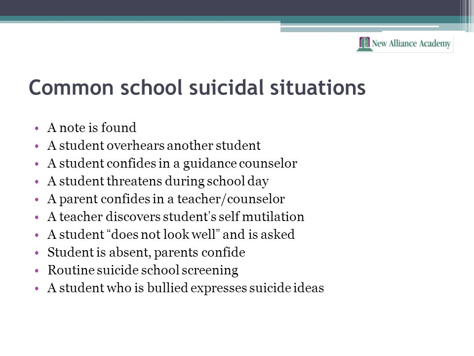Common school suicidal situations