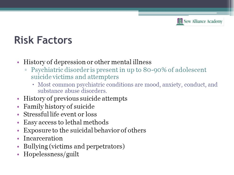 Risk Factors History of depression or other mental illness