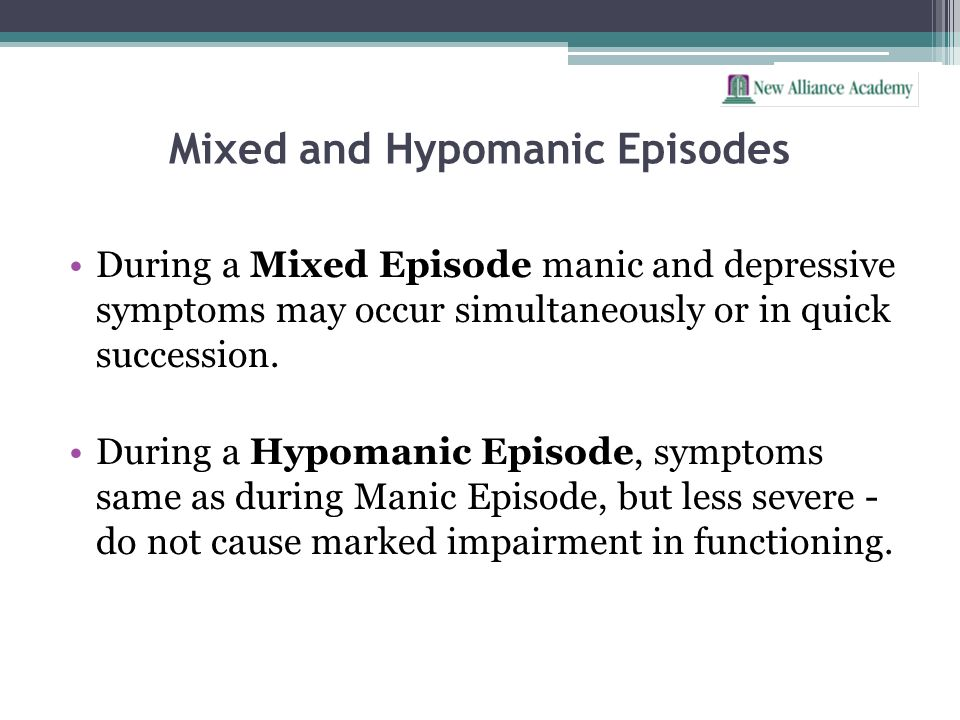 Mixed and Hypomanic Episodes