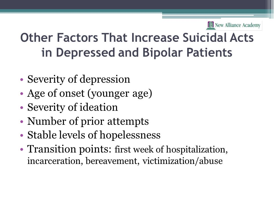 Other Factors That Increase Suicidal Acts in Depressed and Bipolar Patients