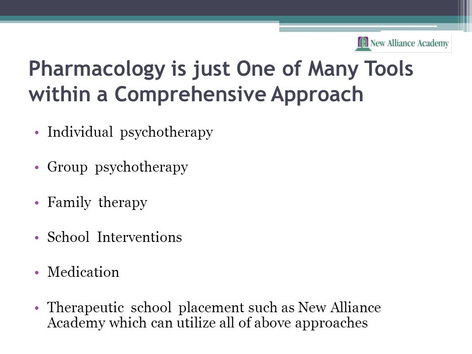 Pharmacology is just One of Many Tools within a Comprehensive Approach