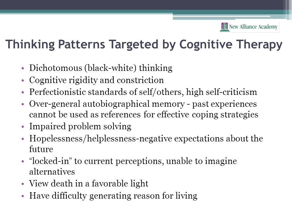Thinking Patterns Targeted by Cognitive Therapy