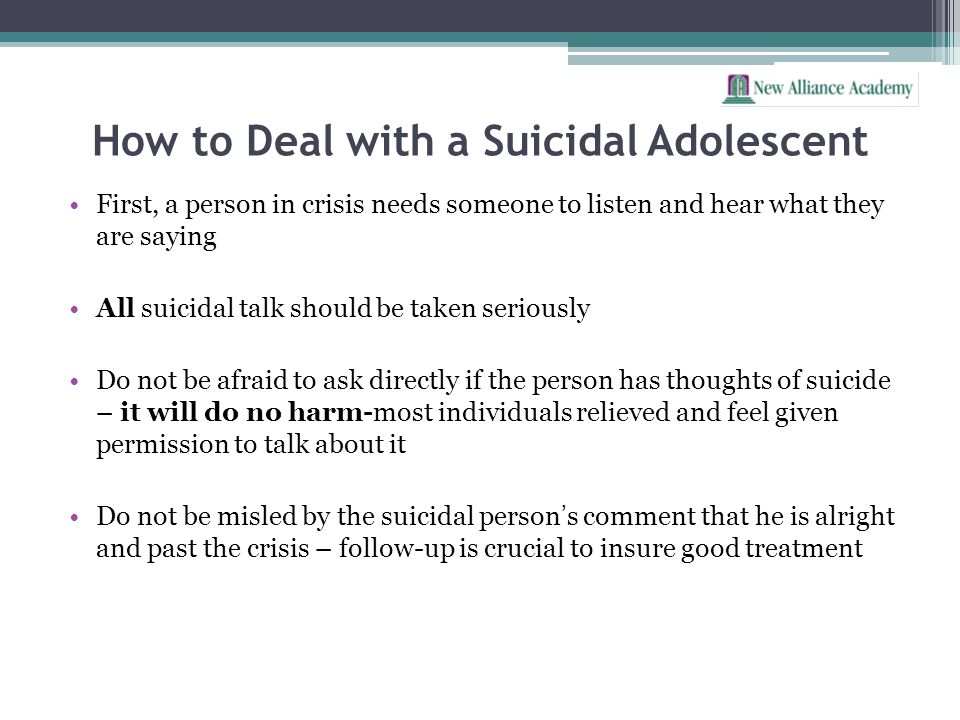 How to Deal with a Suicidal Adolescent