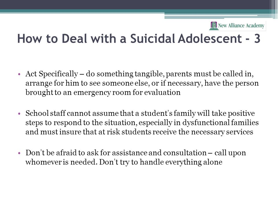 How to Deal with a Suicidal Adolescent - 3