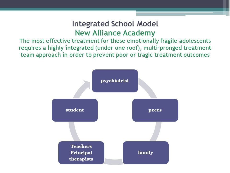 Integrated School Model New Alliance Academy The most effective treatment for these emotionally fragile adolescents requires a highly integrated (under one roof), multi-pronged treatment team approach in order to prevent poor or tragic treatment outcomes
