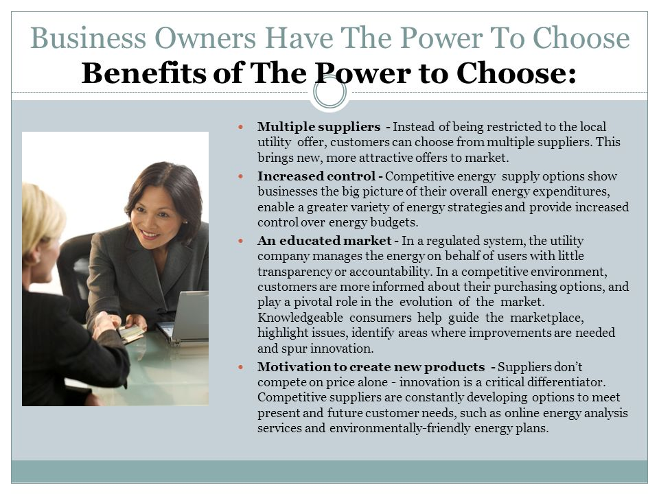 Business Owners Have The Power To Choose Benefits of The Power to Choose: