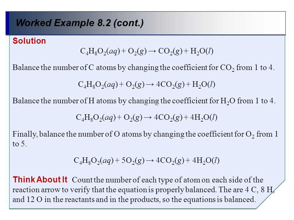 Worked Example 8.2 (cont.) Solution