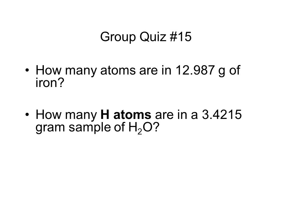 How many atoms are in g of iron