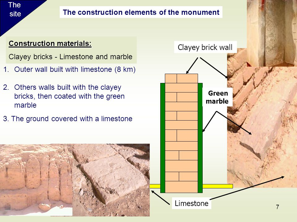 The construction elements of the monument