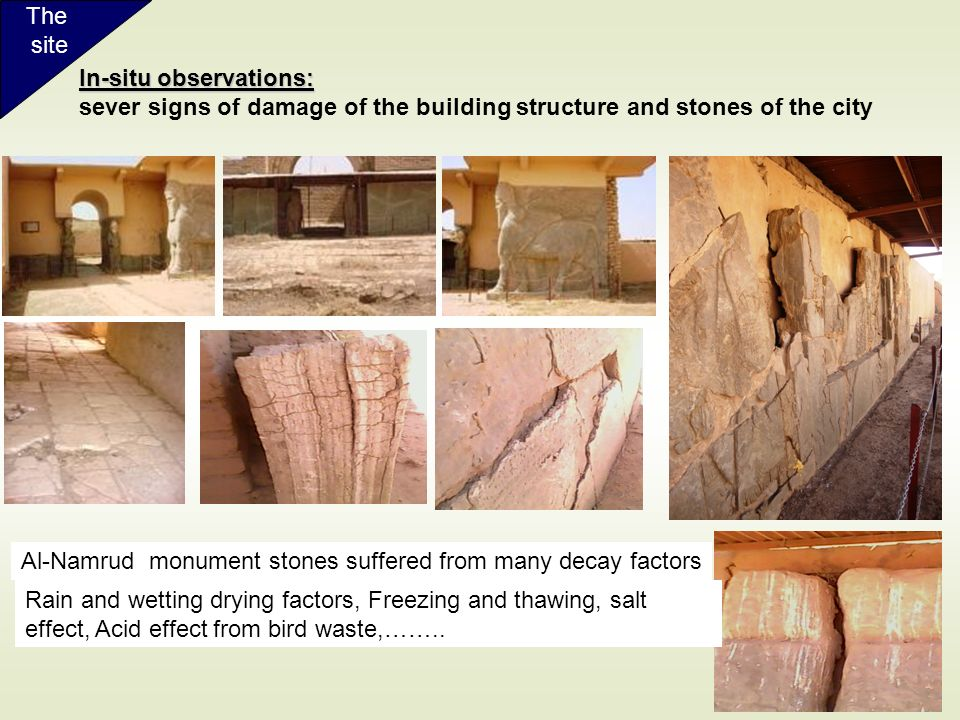 The site. In-situ observations: sever signs of damage of the building structure and stones of the city.