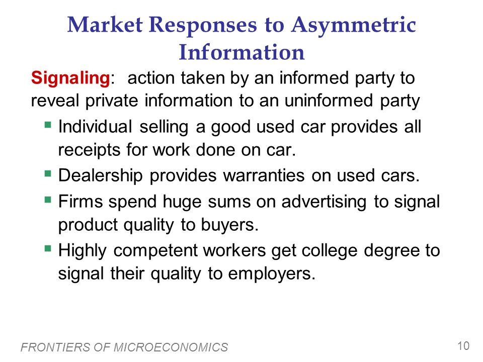 Market Responses to Asymmetric Information
