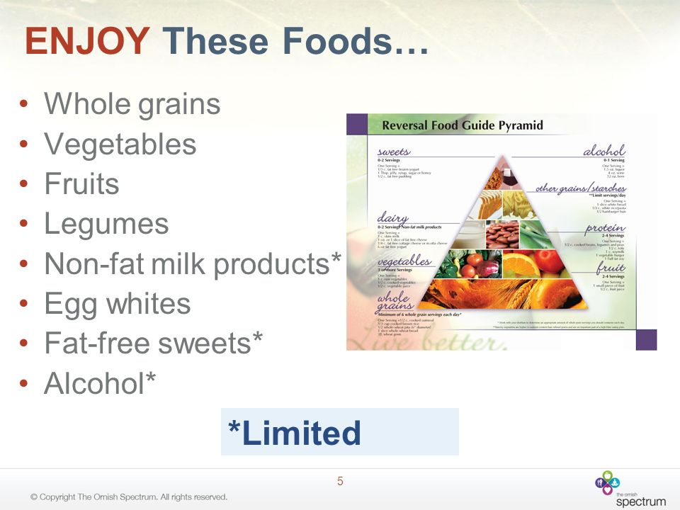 ENJOY These Foods… *Limited Whole grains Vegetables Fruits Legumes