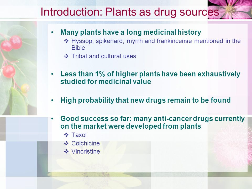 Introduction: Plants as drug sources