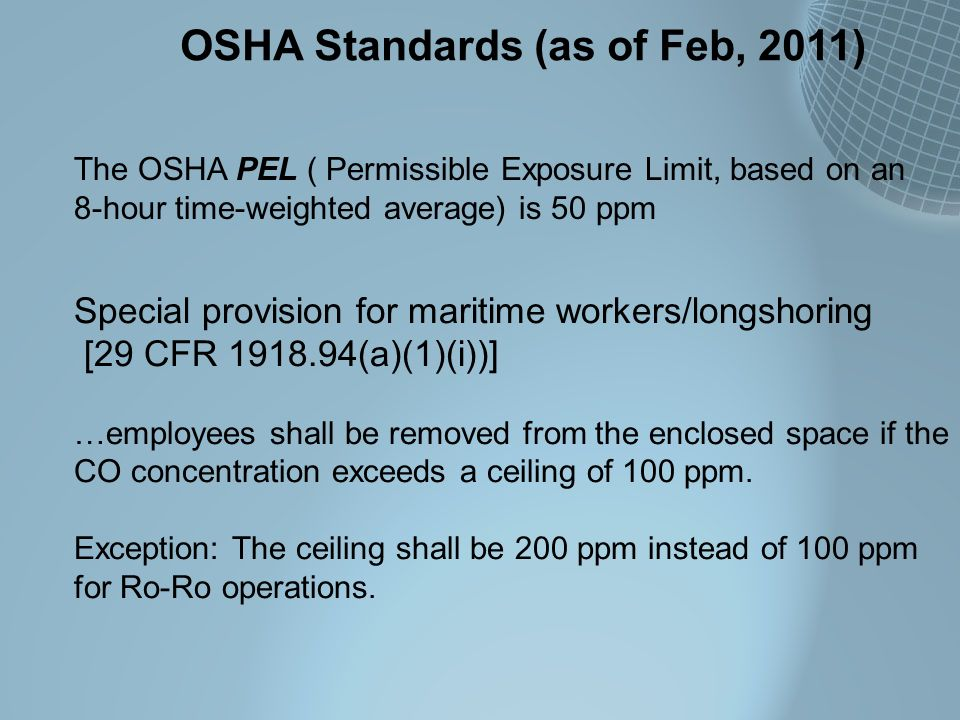 OSHA Standards (as of Feb, 2011)