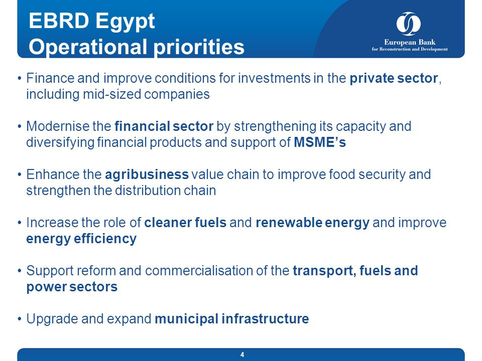 EBRD Egypt Operational priorities