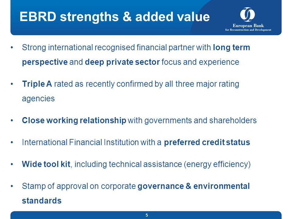 EBRD strengths & added value