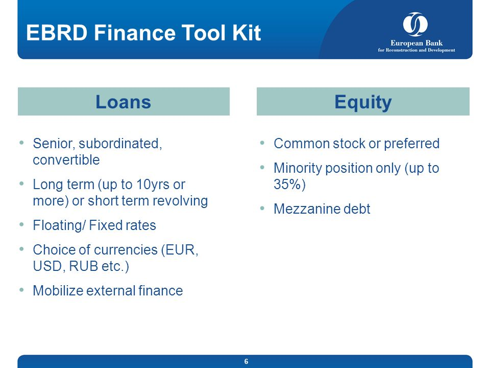 EBRD Finance Tool Kit Loans Equity Senior, subordinated, convertible