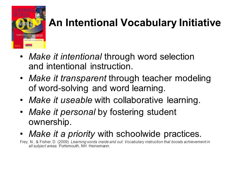 An Intentional Vocabulary Initiative