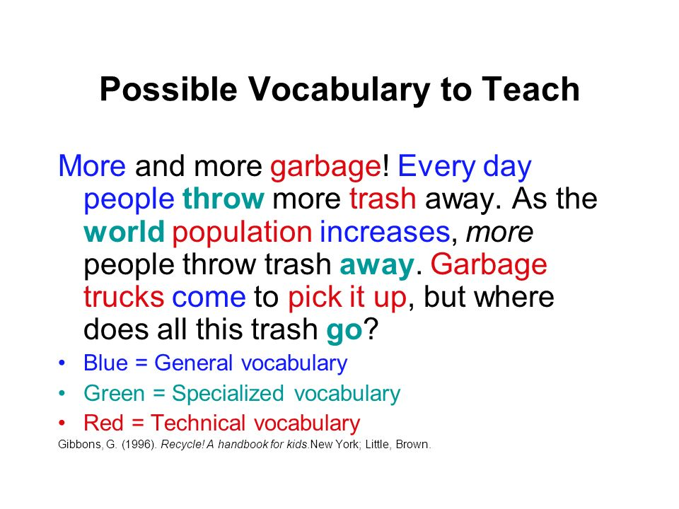 Possible Vocabulary to Teach