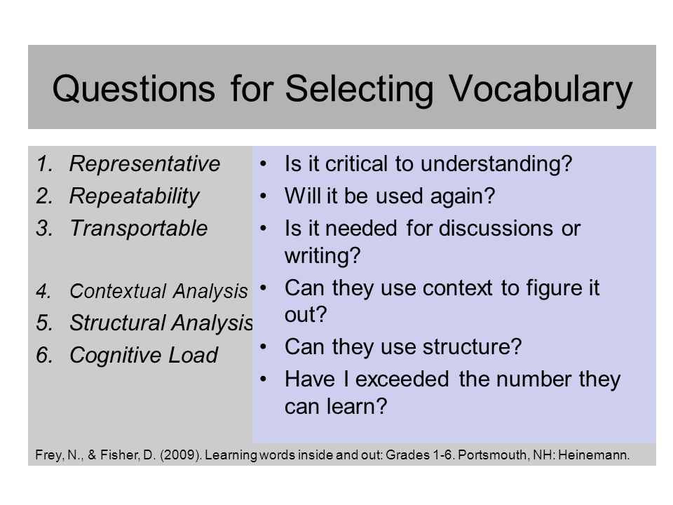 Questions for Selecting Vocabulary
