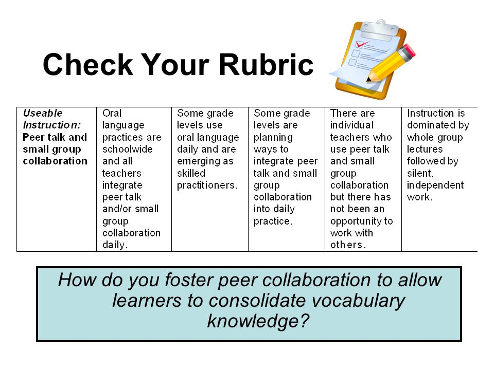 Check Your Rubric How do you foster peer collaboration to allow learners to consolidate vocabulary knowledge