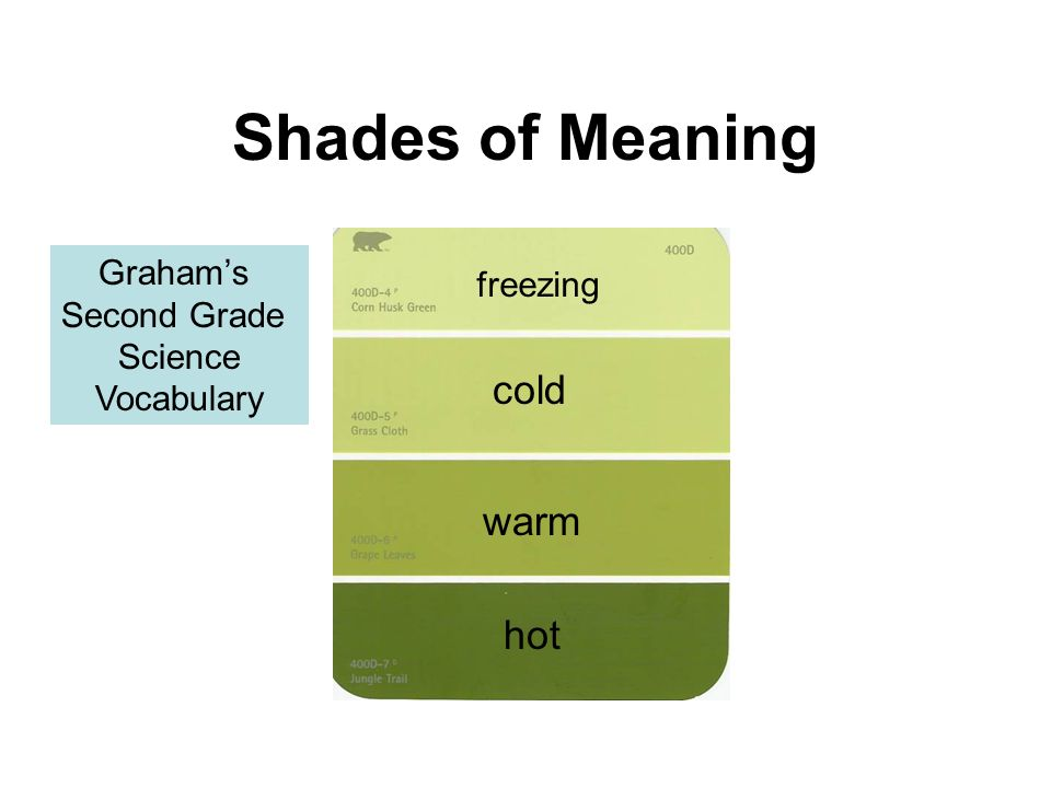 Shades of Meaning cold warm hot Graham's freezing Second Grade Science