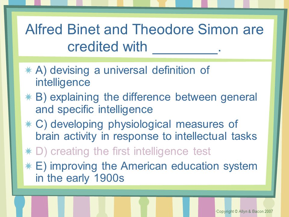 Alfred Binet and Theodore Simon are credited with ________.