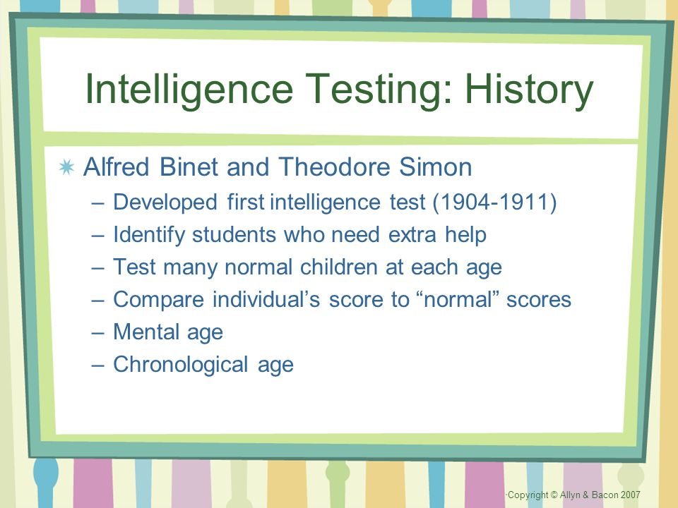 Intelligence Testing: History