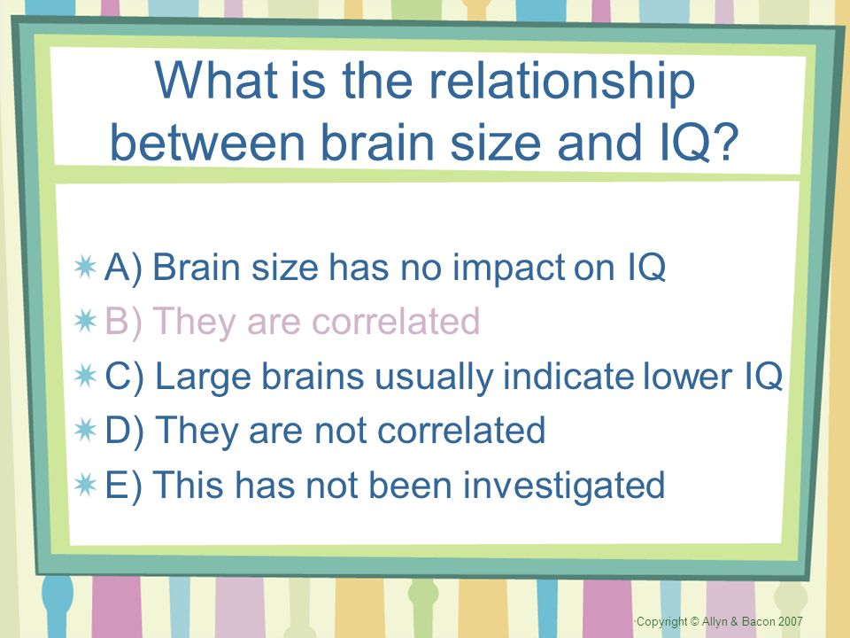 What is the relationship between brain size and IQ