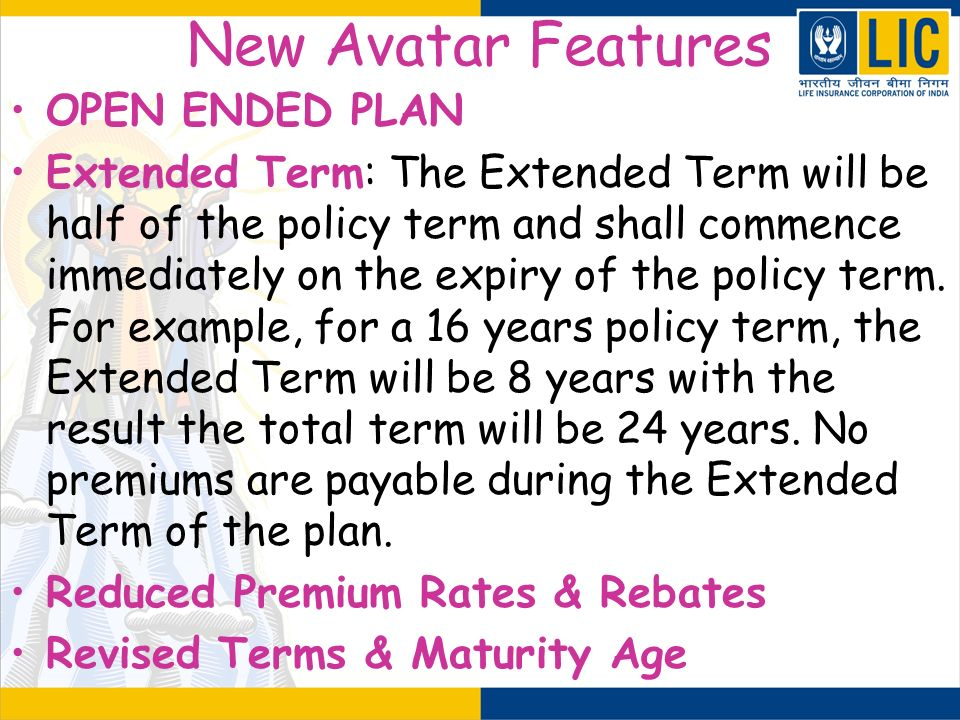 New Avatar Features OPEN ENDED PLAN